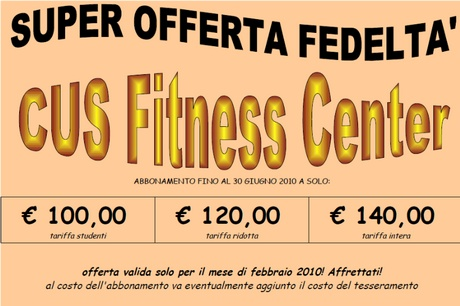 offerta cus fitness
