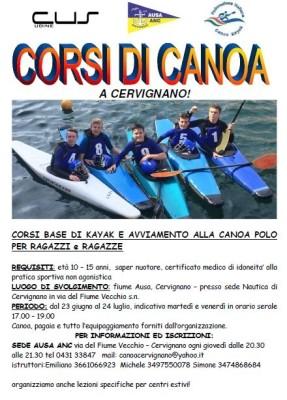 corsi canoa cervignano